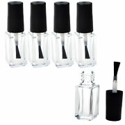20pcs 5/10/15ml Empty Nail Polish Bottles Clear Glass Refillable Container Brush