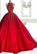 Wedding Party Gown Dresses Luxury Tassel Crystal Beading A Line O Neck Tulle New