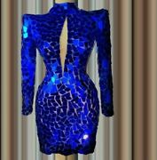 Elegant Party Gowns Dress Sheath Crystal Beaded Royal Blue Tulle High Neck Tulle