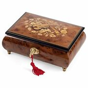 Italian Hand Crafted Inlaid Wood Instrument Jewelry Music Box Play Amazing Grace