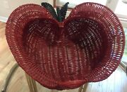 Vtg Lg Red Apple Buttock Basket Wicker Painted 18andrdquo X 18andrdquo X 11andrdquo Deep