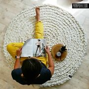 Round Chunky Knit 100 Wool Rug Children's Carpet, Hand Made 150 Cm Us
