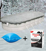 16'x25' Oval Above Ground Winter Pool Cover + 4'x4' Air Pillow + Winterizing Kit