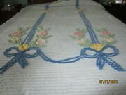 Pretty Vintage Cotton Chenille Bedspread Twin Soft Cheery Addition To Single Bed