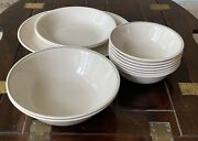 Set Of 12 Vintage Corelle By Corning Grey And Green Rimmed Dinnerware + Platter