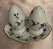 Herend Blue Garland Salt And Pepper Set With Caddy Tray