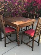 Antique English Oak Barley Twist Draw Leaf Dining Table With Four Matching Chair