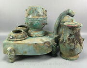 11 Antique China Bronze Ware Dynasty Place Win Bottle Drinking Vessel Cann