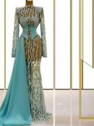 Party Gown Illusion Dresses High Neck Heavy Crystal Beads Button Tulle Polyester