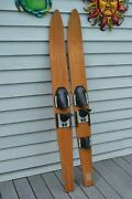 Set Of Wooden Vintage Wood Water Skis Tournament 67 Lake House Cabin Decor