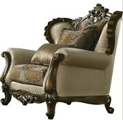 Acme Latisha Chair With 2 Pillow In Tan And Antique Oak Finish 52117