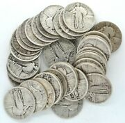 Roll Of 40 1927 Standing Liberty Quarter Dollars Us 90 Silver 25 Cent Coin 10