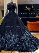 Feather Gowns Dresses A Line Illusion Luxury Beaded Long Sleeves Tulle Polyester