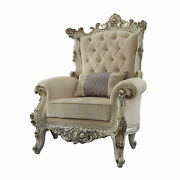 Acme Traditional Picardy Ii Chair With Fabric And Antique Pearl Finish 53463