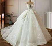 Wedding Dresses Bridal Gowns Court Train Lace Off Shoulder Pearls Beaded Lace Up