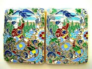 Antique Imperial Russian Silver-gilt Cloisonne, Shaded, Pictorial Enamel Case