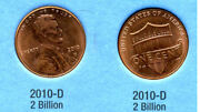 2010 D Abe Lincoln Shield American Penny 1 Cent Us U.s America One Coin 4469