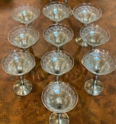 Sterling Silver Etched Champagne Glasses Antique Set Of 10 Plus 2 Extra Holders