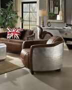 Acme Brancaster Chair In Retro Brown Tg Leather And Aluminum Finish 53547