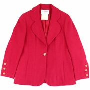 Vintage 94a Tweed Jacket Women 's Red System 42 Wool Coco Mark No.9653