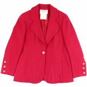 Vintage 94a Tweed Jacket Women And039s Red System 42 Wool Coco Mark No.9653