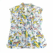 Total Pattern Airplane Coco Button Shortsleeved Shirt Multi No.9855