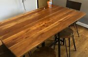 Crate And Barrel Industrial Table With 6 Seats 4 Dining Stools And 2 Chairs