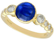 Vintage 1.74ct Sapphire And 0.57ct Diamond, 18ct Yellow Gold Dress Ring 1981 N
