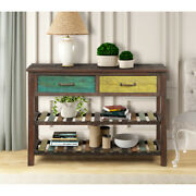 Retro Console Table With Drawers Storage Shelves Living Room Narrow Sofa Table