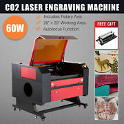 Co2 Laser Engraver Cutter 60w 28x20in With Cylinder Rotary Axis Autofocus