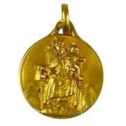 French Madonna And Child 18k Yellow Gold Charm Pendant