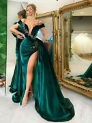 Party Dress Sexy Gowns Mermaid Off Shoulder High Slit Side Crystals Pleat Velour