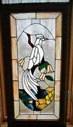 Stained Glass Tropical Bird Window Framed In Cherry