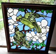 Stained Glass Window Of 's Parrots And Hibiscus Pattern Framed In Cherry