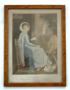 Antique Early George Romney Art Printthe Spinster England Wood Frame 18.5x14