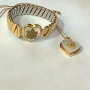 Wwii U.s. Army Insignia Sweetheart Bracelet And Locket Set, 10k/mother Of Pearl