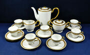 18 - Piece Made In Occupied Japan Demitasse China Set - Gold Rope Edge Pattern