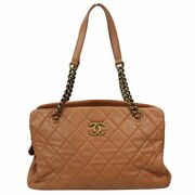 Matelasse Chain Tote Bag Pink Beige Antique Gold Fittings Women No.950
