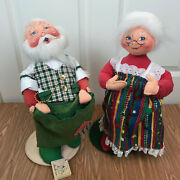 Vintage Annalee 18 Mr. Santa Claus/mrs. Christmas Cheer With Stands New Tags