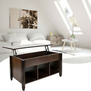 Lift-top E1 Board Solid Wood Coffee Table Durable With Storage Cabinets