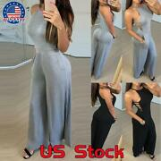 Women Slim Casual Pockets Sleeveless Halter Jumpsuit Wide Leg Pant Sexy Rompers