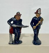 Lot Of  2 Barclay Manoil Lead Fireman Fire Fighter Figures