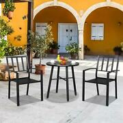 3 Pcs Patio Dining Set Bistro Square Breakfast Table 2 Chairs Furniture Black Us