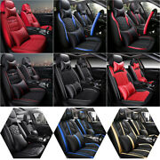 Car Seat Covers 5-seat Universal Auto Cushion Protectors Pu Leather With Pillow