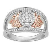 Enchanted Disney Rose Gold Over Sterling Silver Majestic Princess Crown Ring