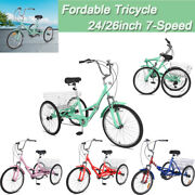 24/26 Foldable Tricycle Outdoor Adult 7speed 3wheel Bikes With Shopping Basket