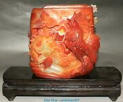 China Natural Red Agate Carving Zodiac Year Rooster Cock Goldfish Pen Holder