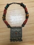 Antique Moroccan Authentic Silver Box Women Coral Necklace Handmade African Berb
