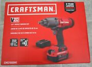 New Craftsman Max 20v 1/2 In. Cordless Brushed Impact Wrench Kit Cmcf900m1