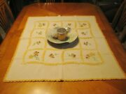 Rustic Farmhouse Hand Embroidered Floral Table Topper Trim Edge Hand Crochet